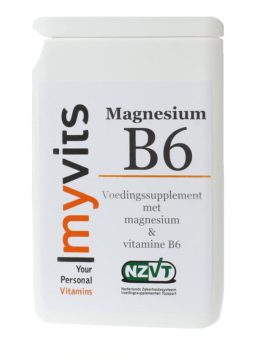 Magnesium & vit B6 60 stuks. Aangevuld met vitamine B6 MyVits